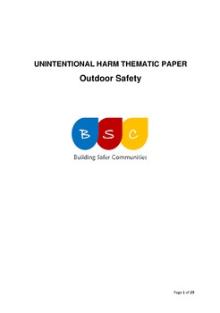 Unintentional Harm Thematic Paper - Outdoor Safety April 2017