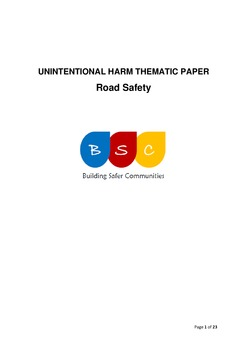 Unintentional Harm Thematic Paper - Road Safety April 2017